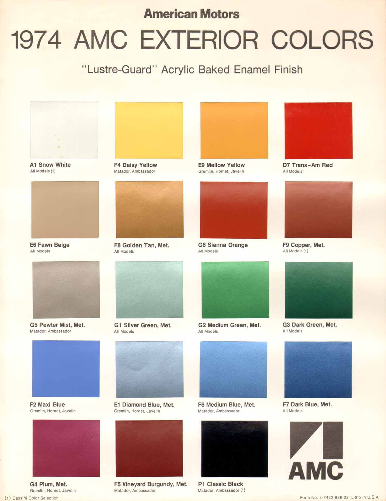 1974 amc exterior color chart page 1 of 2 full size image nvjuhfo Choice Image
