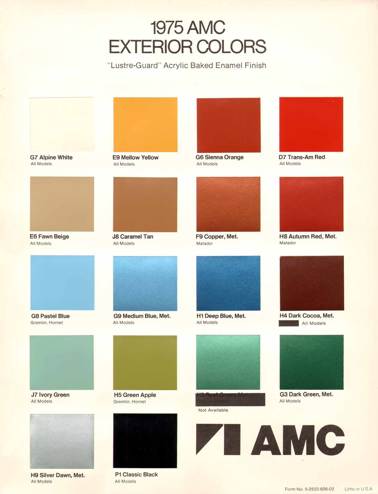 1975 AMC Exterior Colors Chart page 1 of 1