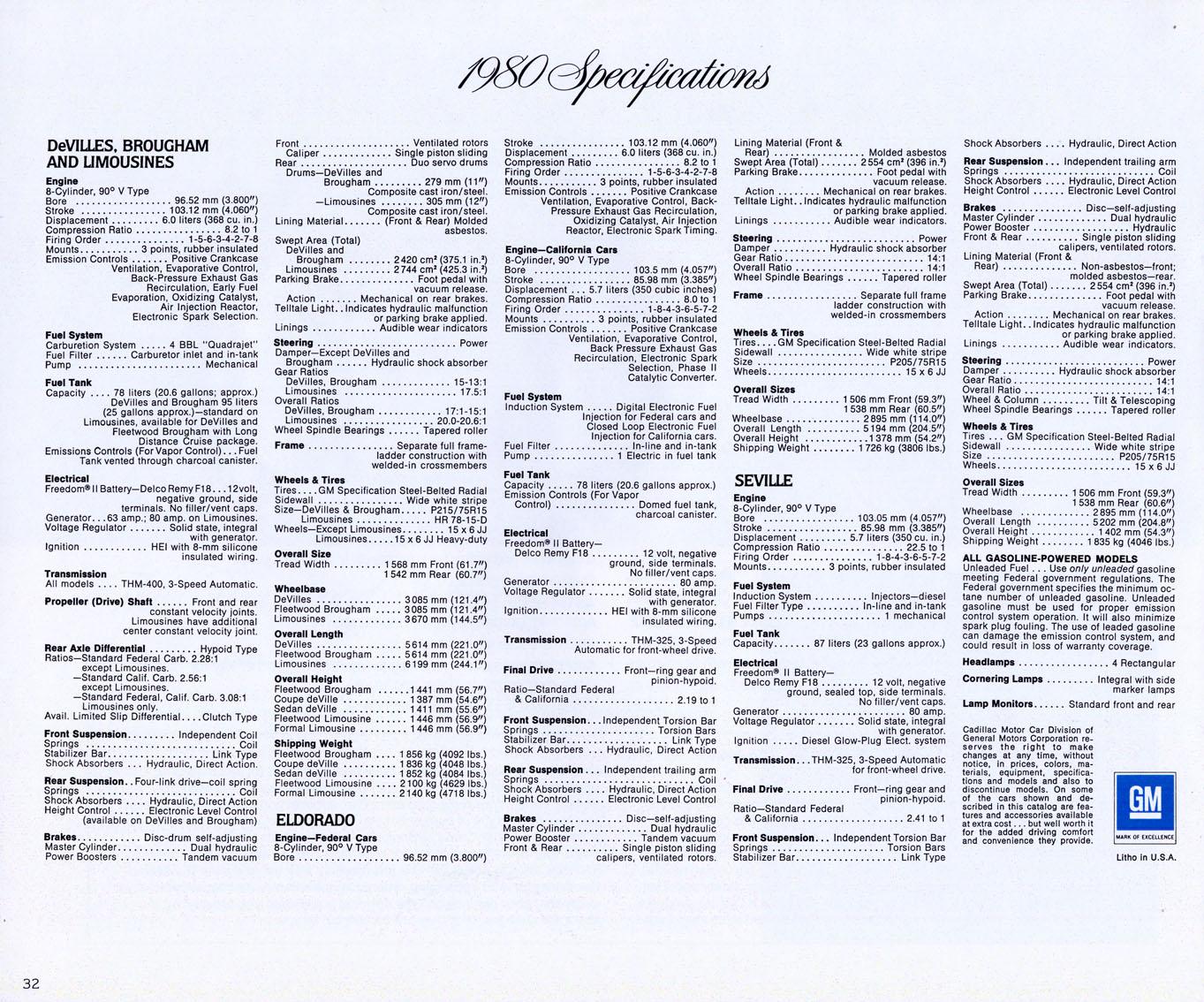 1980 Cadillac Brochure