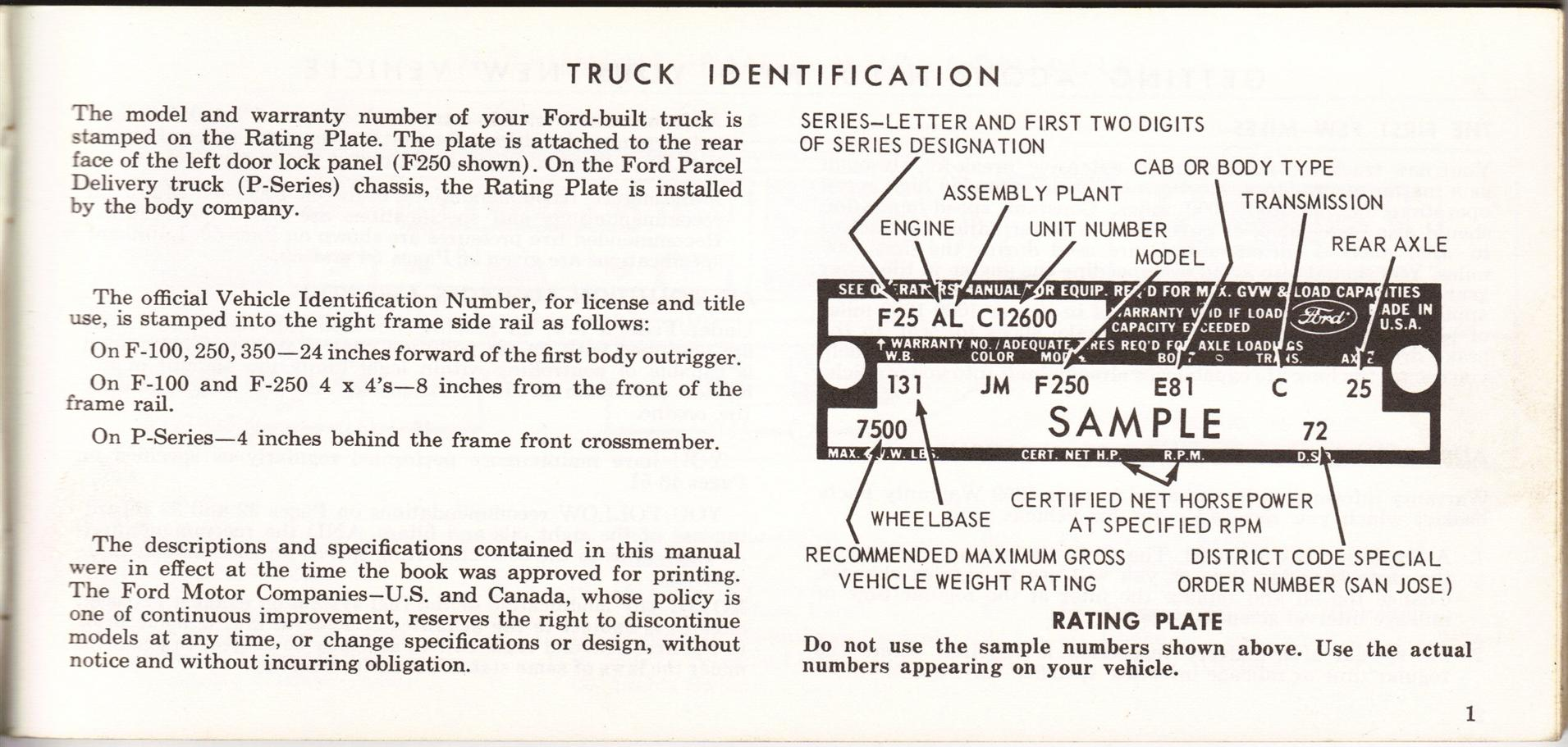 1969 Ford Truck Owners Manual Pg01