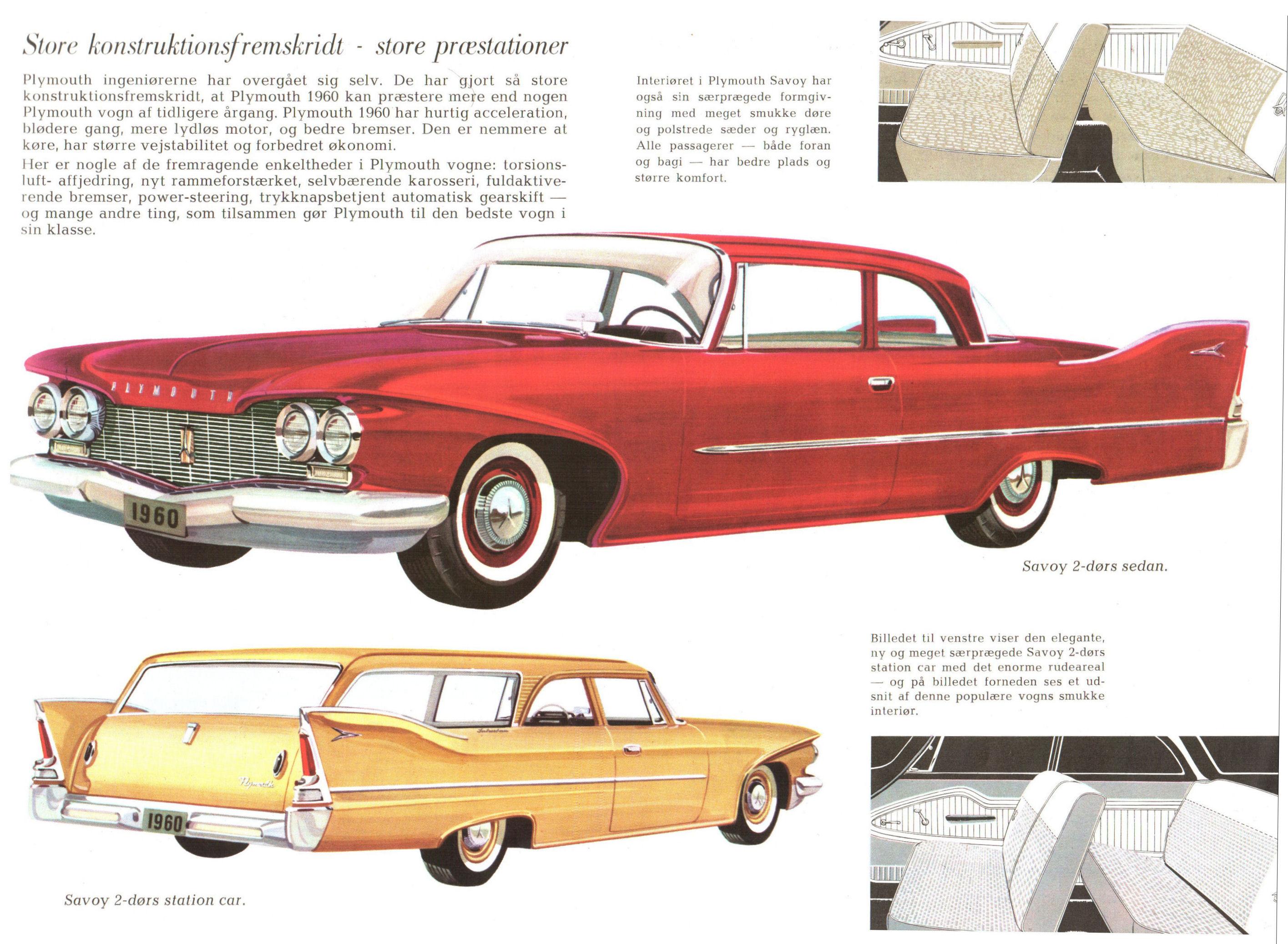1960 Plymouth Brochure Danish Savoy Sedan Full Size Image